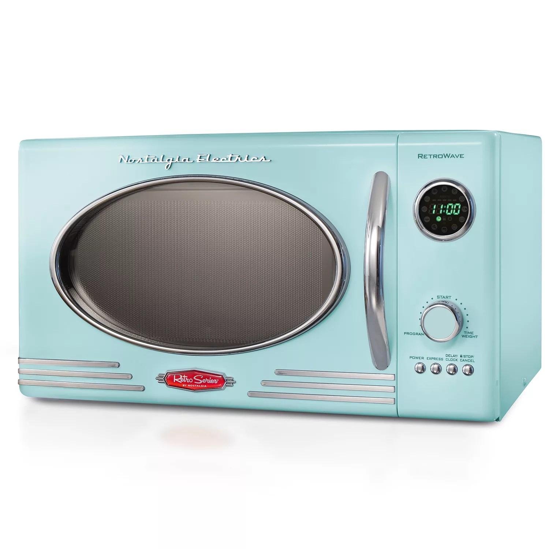 nostalgia electrics retro aqua 800 watt microwave oven