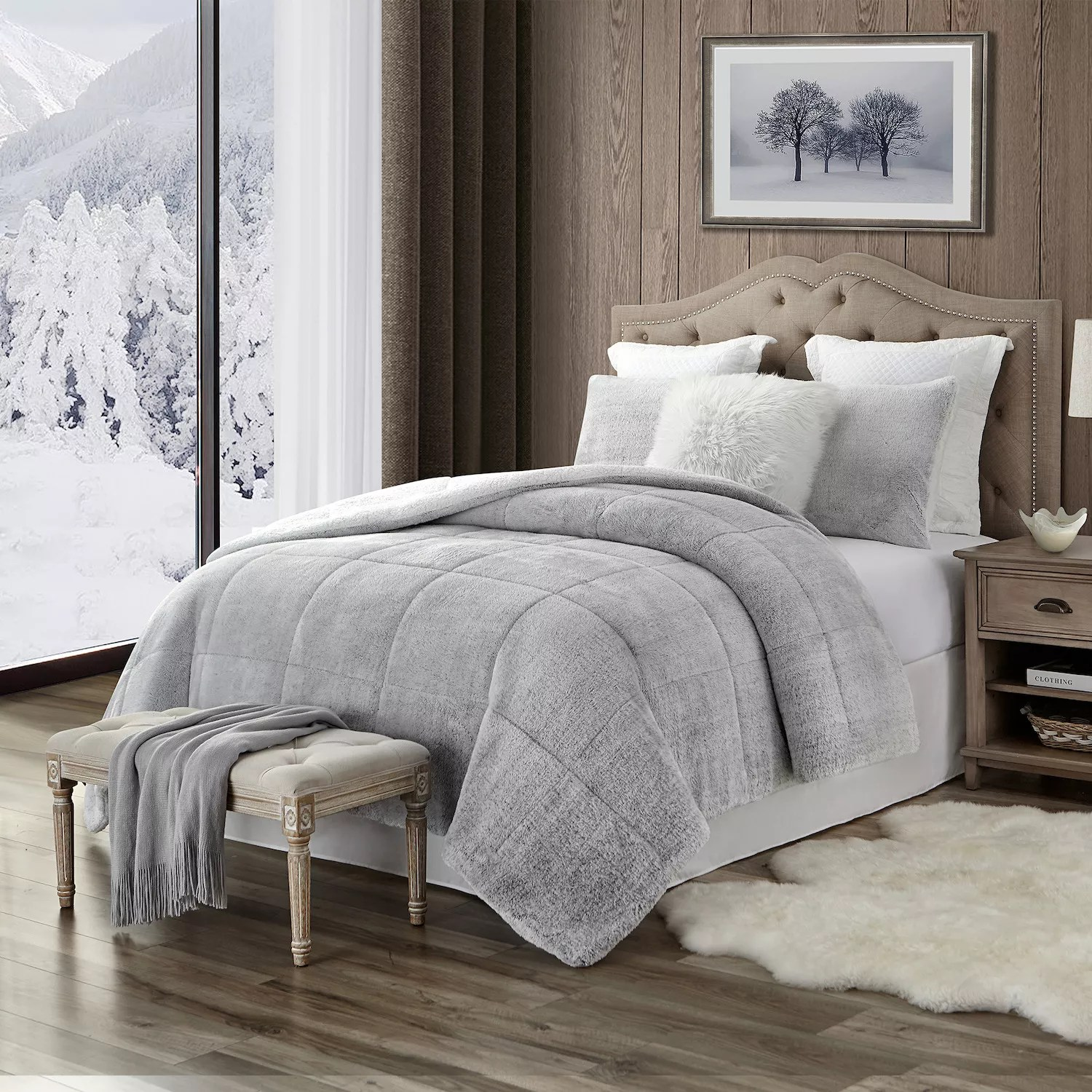 trendy reversible ultra plush faux fur sherpa comforter set