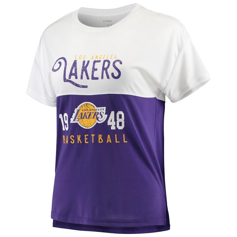 Purple Los Angeles Lakers T Shirt . Women S Fisll White Purple Los Angeles Lakers Interlock Mesh Combo Short Sleeve T Shirt