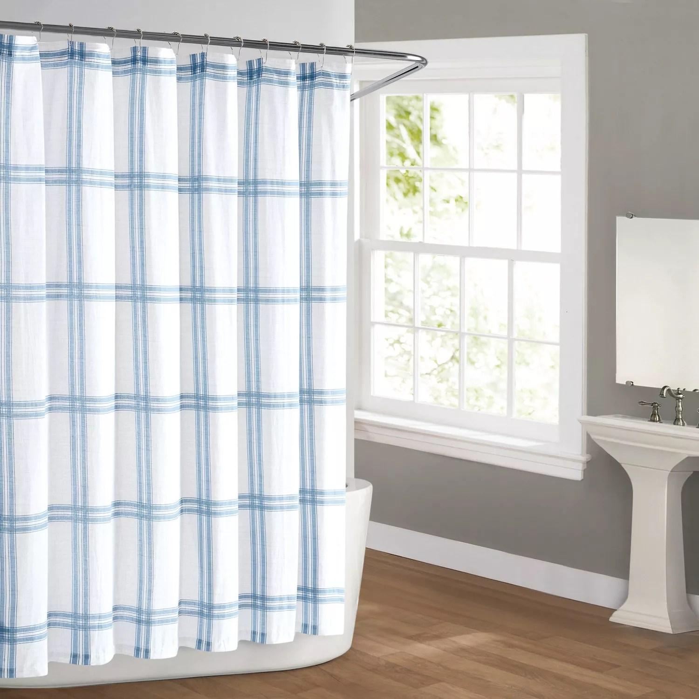 cottage classics farmhouse plaid shower curtain