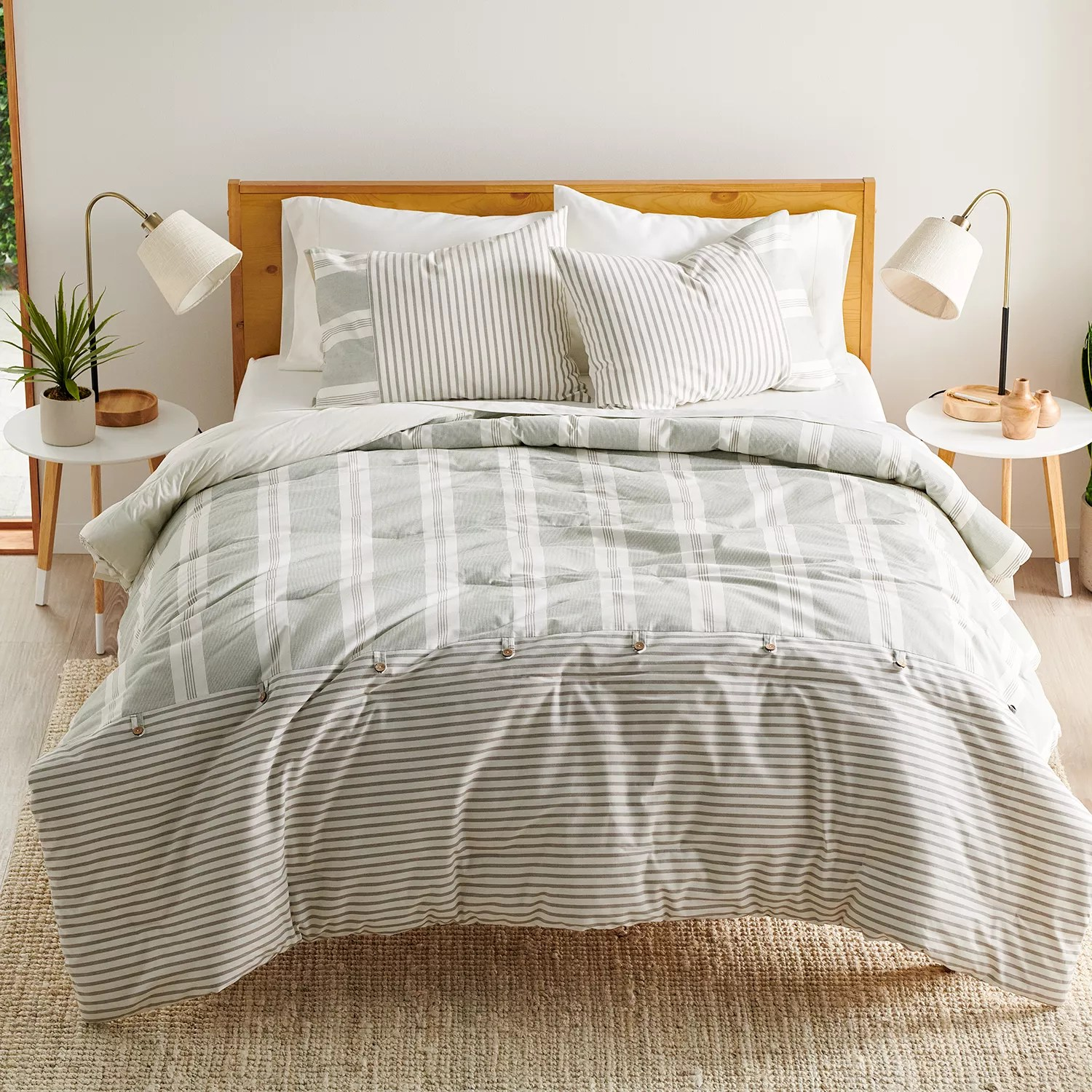 sonoma goods for life hastings sage and gray stripe comforter set with shams