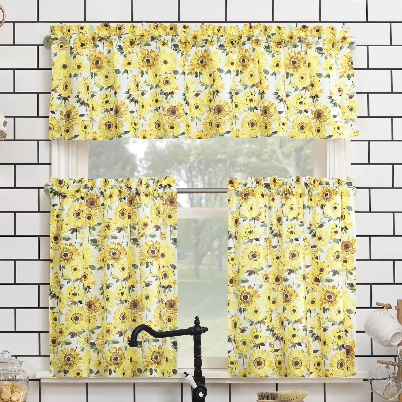 no 918 sunny sunflower print semi sheer rod pocket kitchen curtain valance tiers set