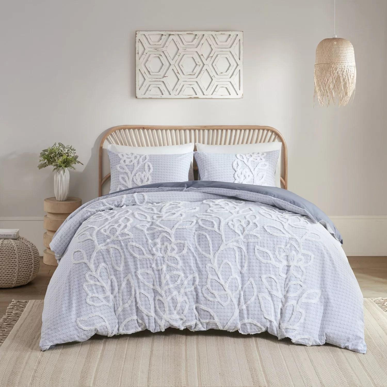 madison park mila 3 piece tufted cotton chenille duvet cover set with shams