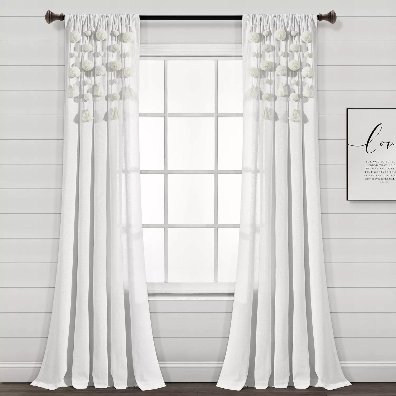 boho lace poletop ivory curtains