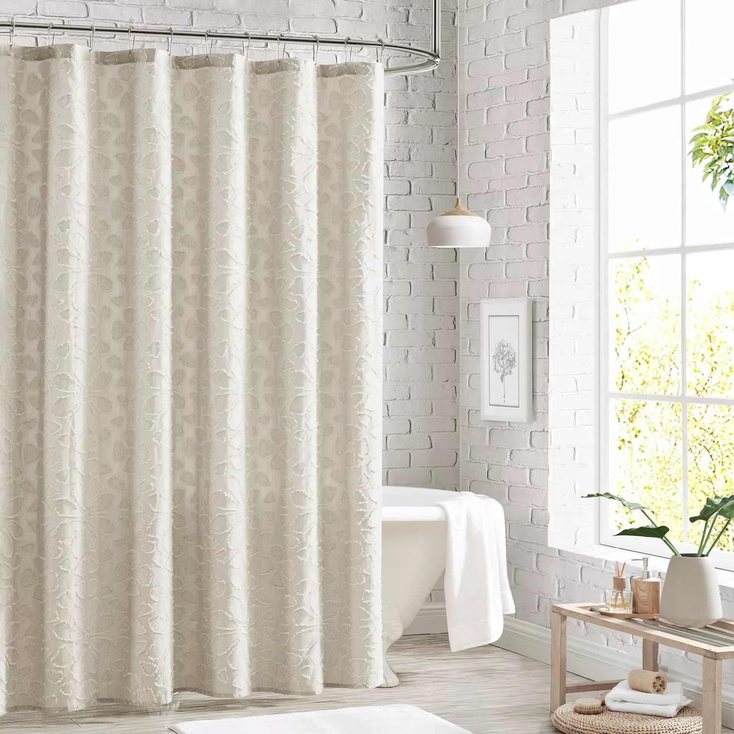 peri clipped floral shower curtain