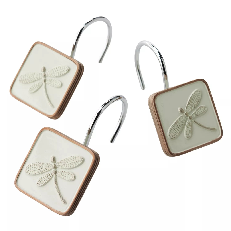 shalimar 12 pk dragonfly shower curtain hooks