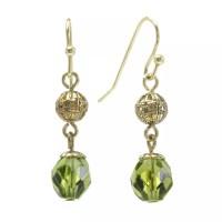 1928 Gold Tone Bead Filigree Drop Earrings