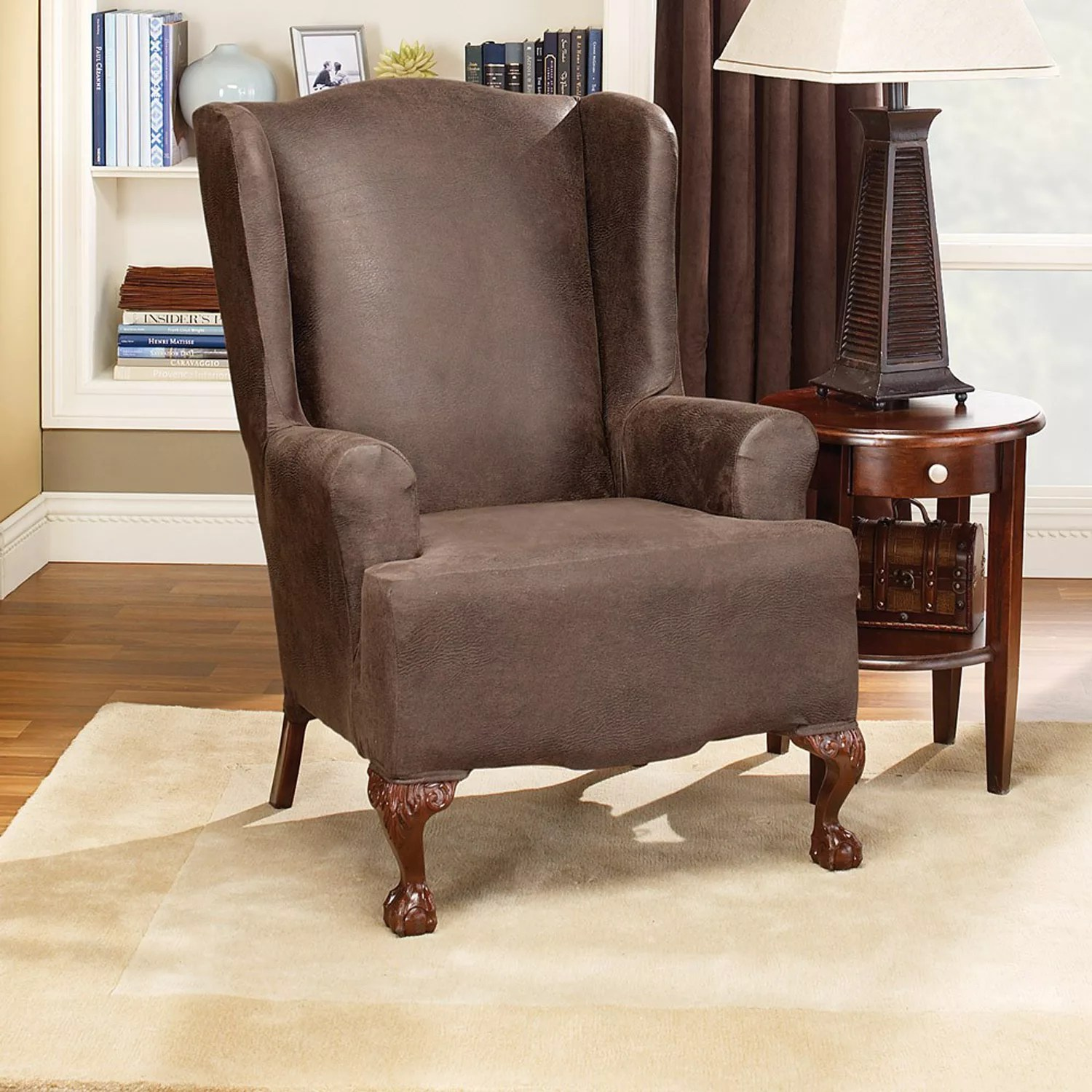 sure fit wing chair slipcover posture perfect seat cushion wingback chairs slipcovers home decor kohl s homestyles by stretch