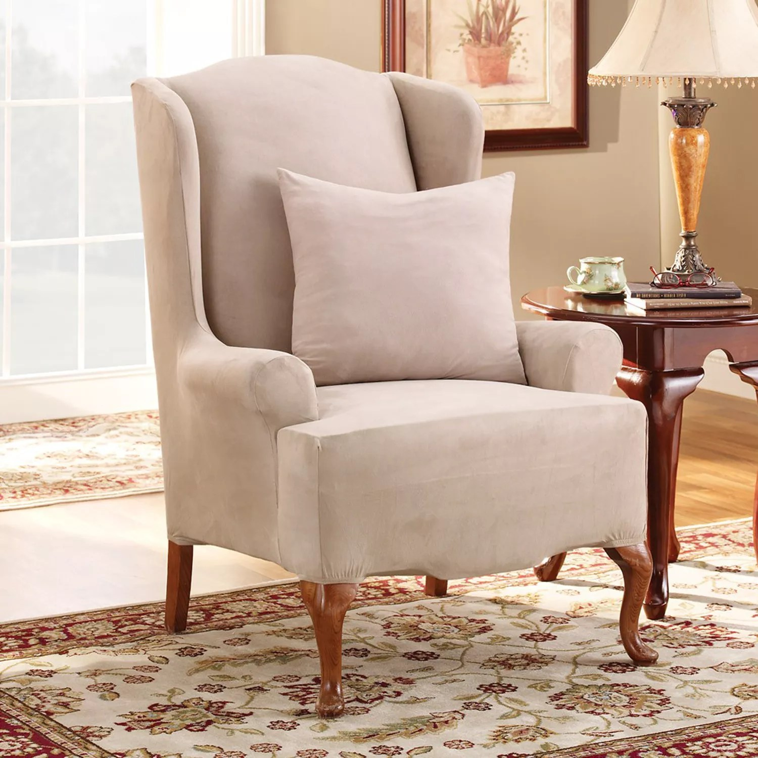 cotton dining chair covers australia white rocking wooden legs slipcovers kohl s sure fit stretch suede wing slipcover