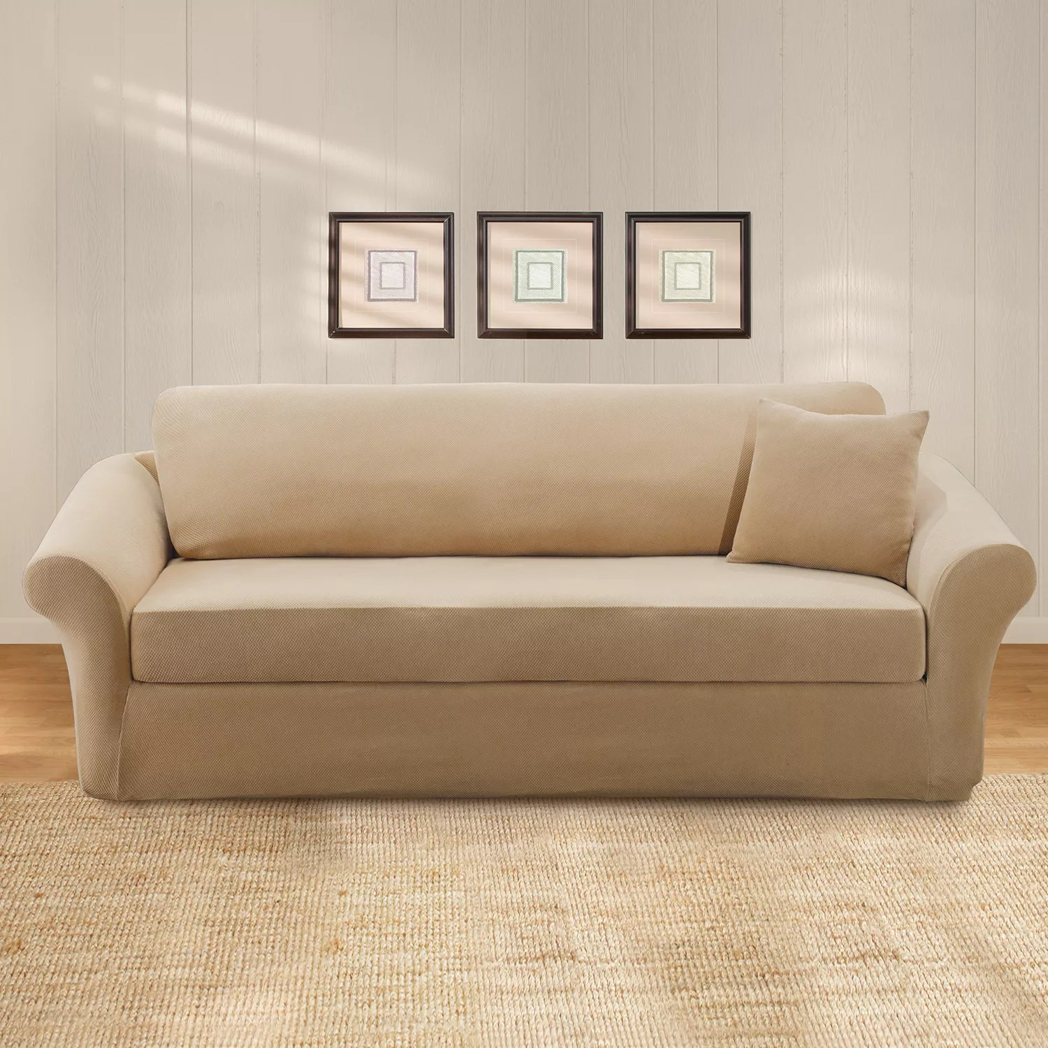 sure fit stretch pearson 3 pc sleeper sofa slipcover full crate and barrel reviews pique