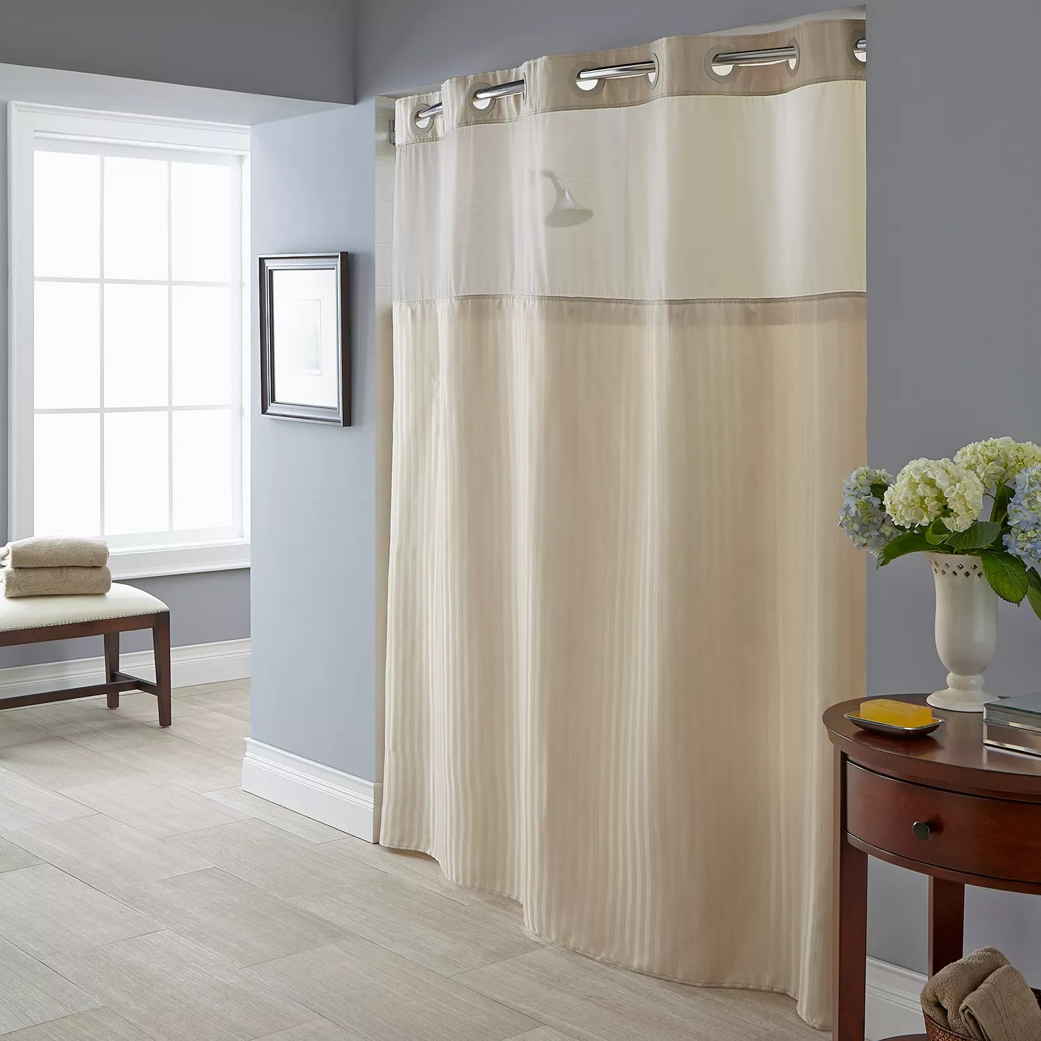 Beig Khaki Shower Curtains & Accessories Bathroom Bed & Bath