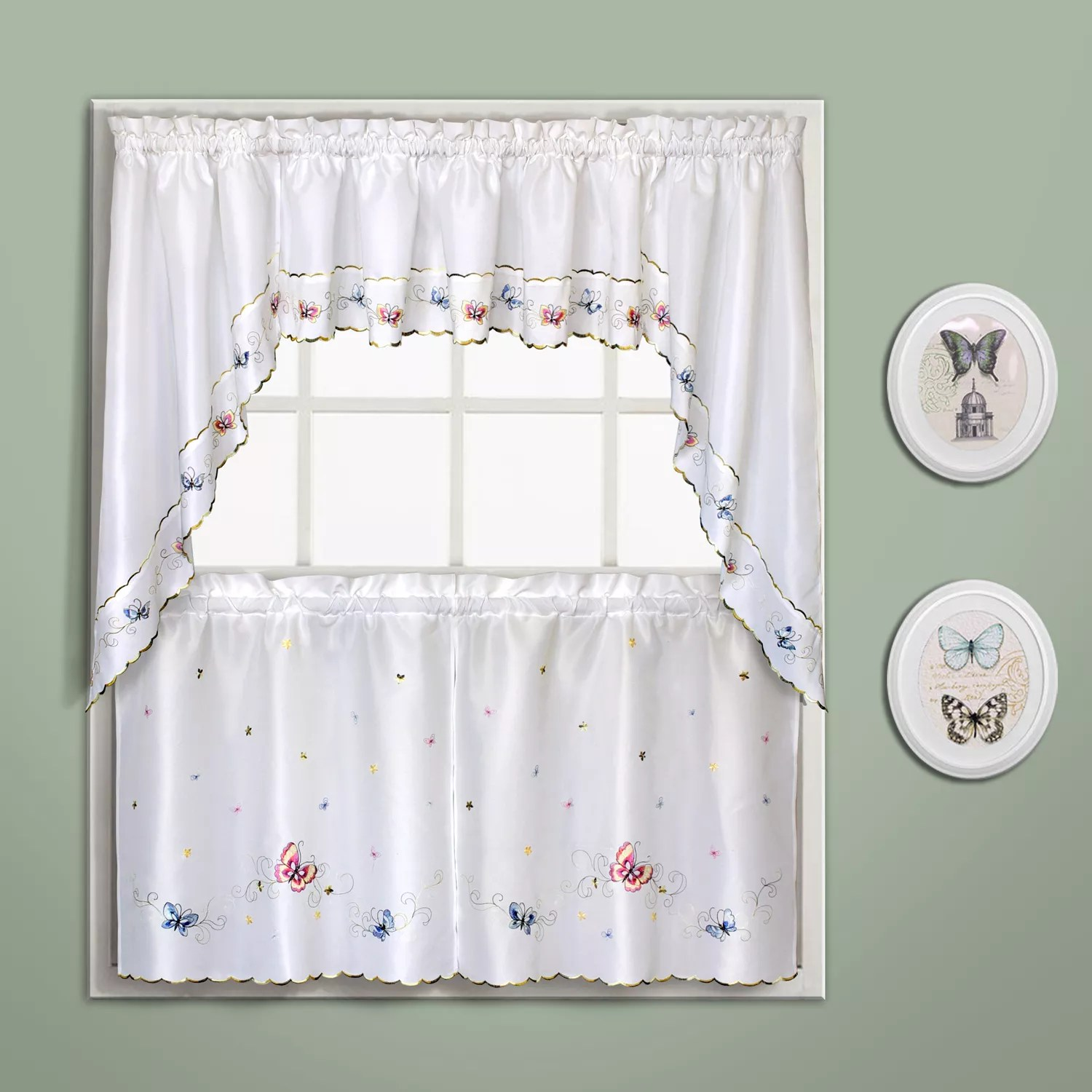 United Curtain Co Butterfly Swag Tier Kitchen Curtains
