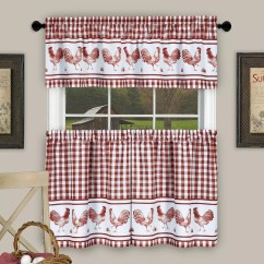 Kitchen Curtains Kohls Undermount Sinks Stainless Steel Achim Drapes Window Treatments Home Decor Kohl S Barnyard Rooster Plaid