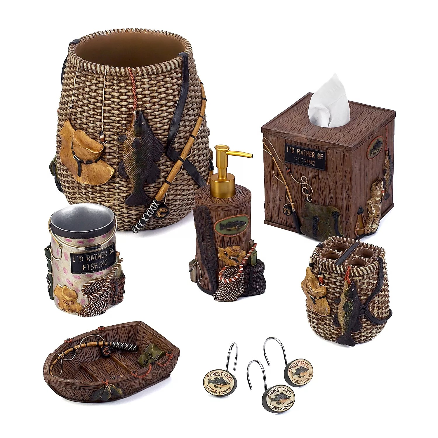 Avanti Rather Be Fishing Bathroom Accessories Collection