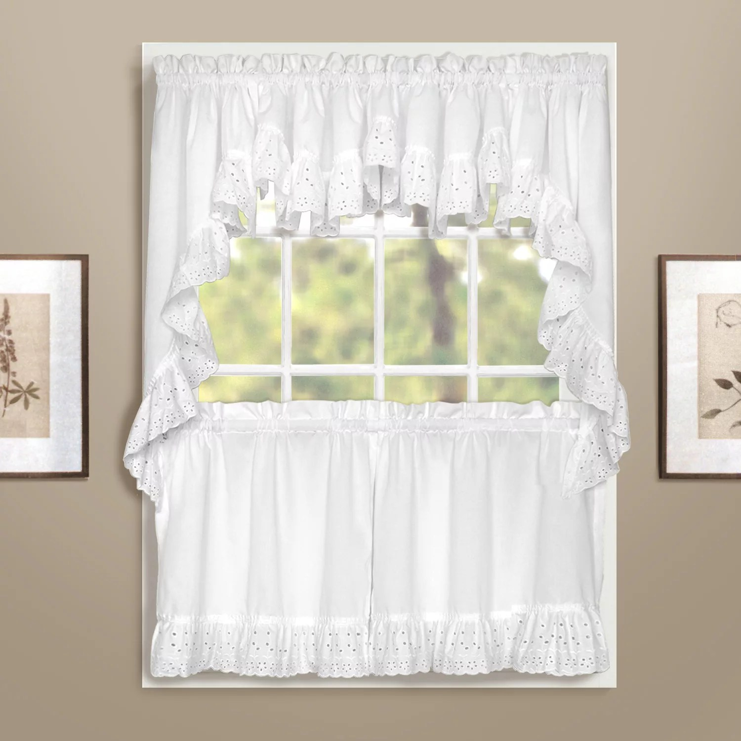 United Curtain Co Vienna Eyelet Swag Tier Kitchen Curtains