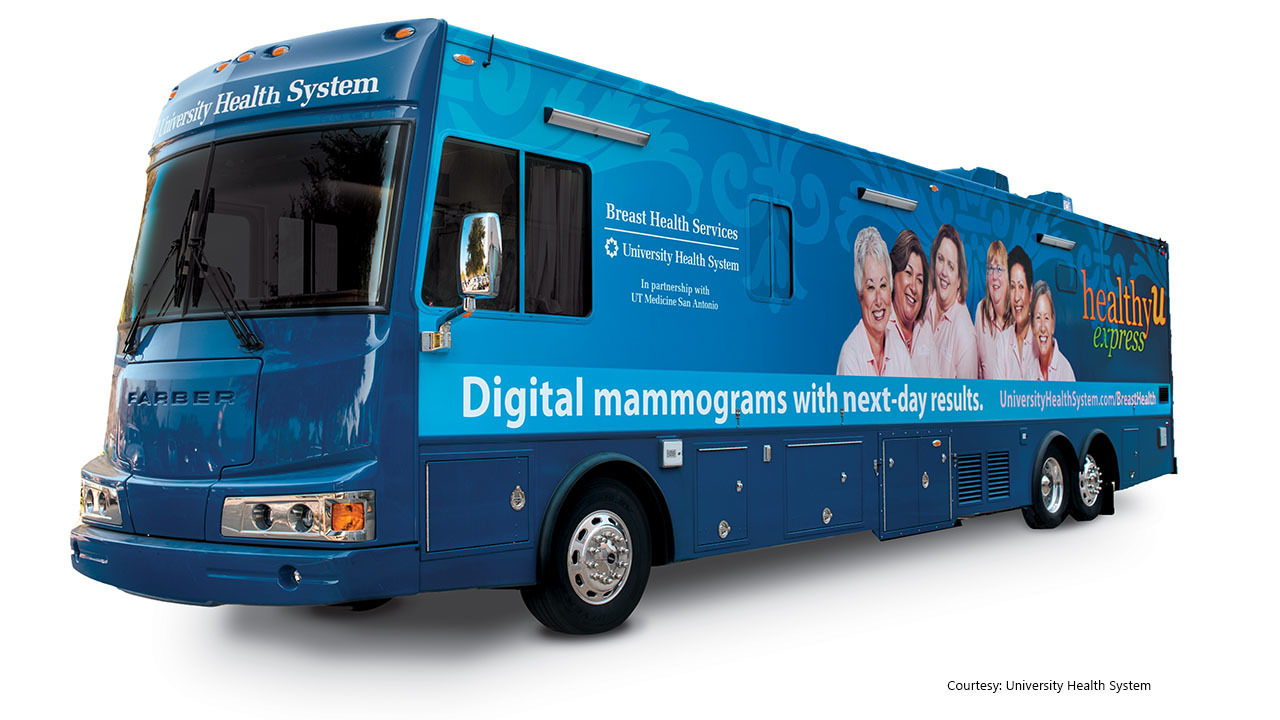 University Health System mobile mammography bus offering exams