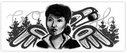 An early draft of the Elizabeth Peratrovich Google Doodle by Michaela Goade (Source: Google)