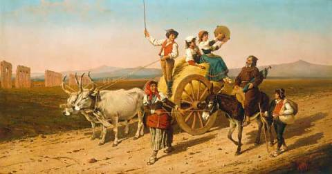 A Trip in the Roman Campagna of artist Filippo Indoni, Indoni, Filippo, 19th, Century, Trip, Roman, Campagna, Oil