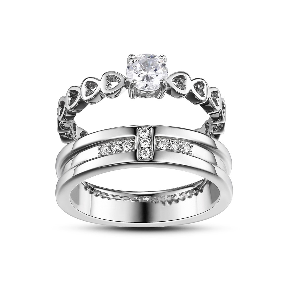 Round Cut Gemstone 925 Sterling Silver Promise Rings For