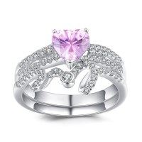 Heart Cut Amethyst 925 Sterling Silver Promise Rings For ...