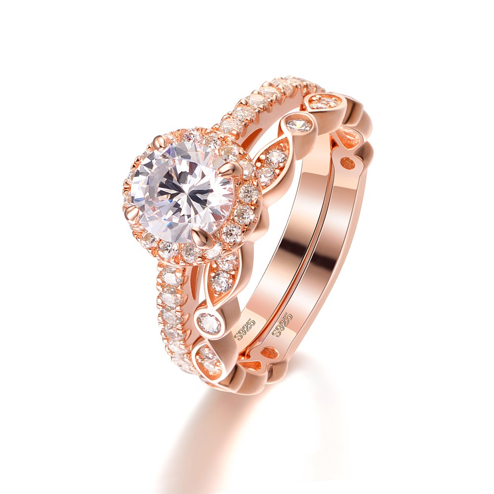 Rose Gold Round Cut White Sapphire Sterling Silver Womens