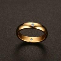 Titanium Round Cut White Sapphire Simple Gold Promise ...
