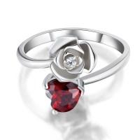 Heart Cut Garnet 925 Sterling Silver Promise Rings For Her ...