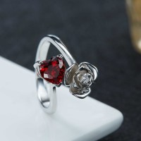 Heart Cut Garnet 925 Sterling Silver Promise Rings For Her ...