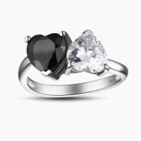 Heart Cut Black 925 Sterling Silver Promise Rings For Her ...