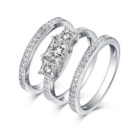 Princess Cut 925 Sterling Silver White Sapphire 3 Piece 3 ...