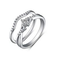 Princess Cut White Sapphire 925 Sterling Silver Wedding ...
