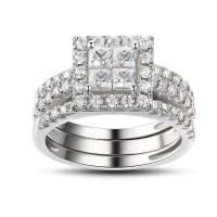 Princess Cut White Sapphire 925 Sterling Silver Bridal ...