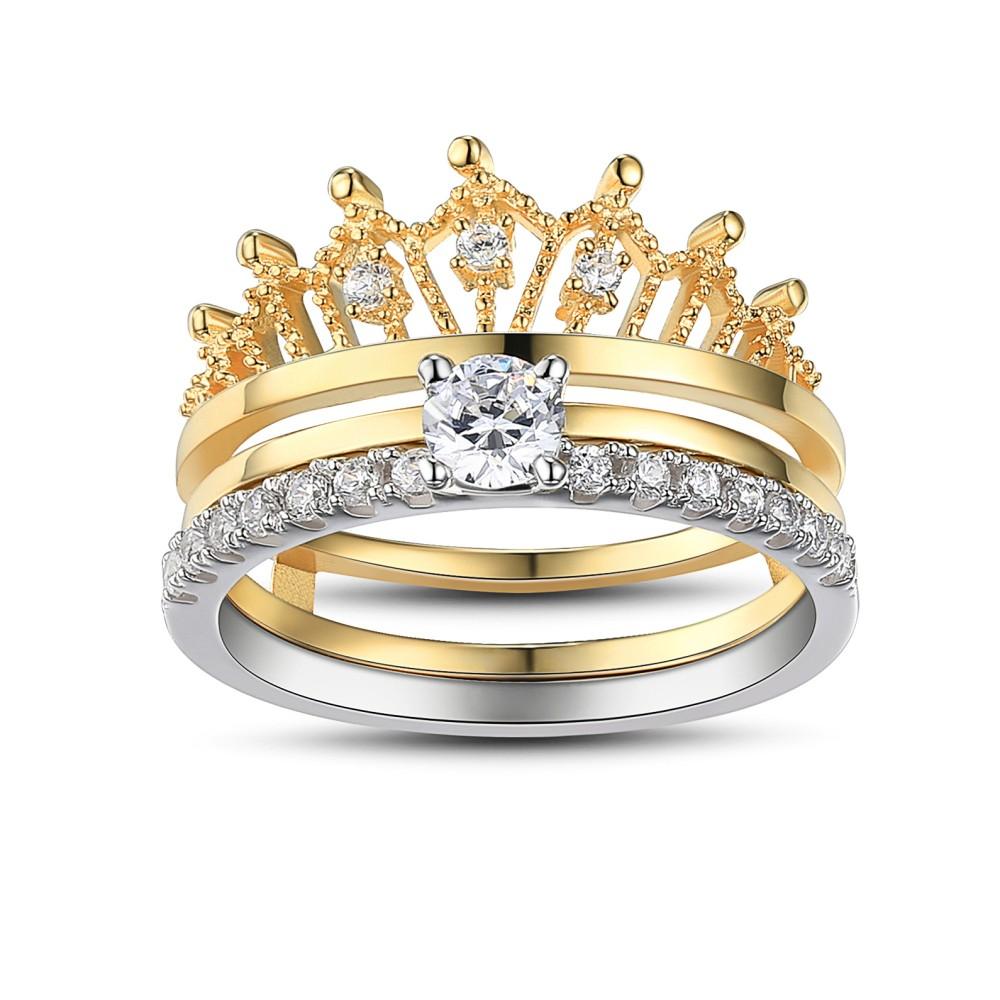 Crown Round Cut White Sapphire Sterling Silver Women's