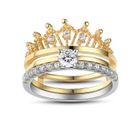 Crown Round Cut White Sapphire Sterling Silver Women's ...