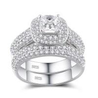 Princess Cut White Sapphire Sterling Silver Women's Bridal ...