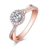 Round Cut Rose Gold 925 Sterling Silver White Sapphire ...
