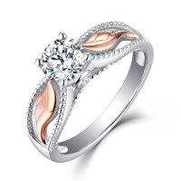 """Angel Wings"" Round Cut White Sapphire Rose Gold Sterling ..."