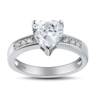 Heart Cut Gemstone 925 Sterling Silver Promise Rings For