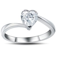 0.5CT Heart Cut White Sapphire 925 Sterling Silver Promise ...