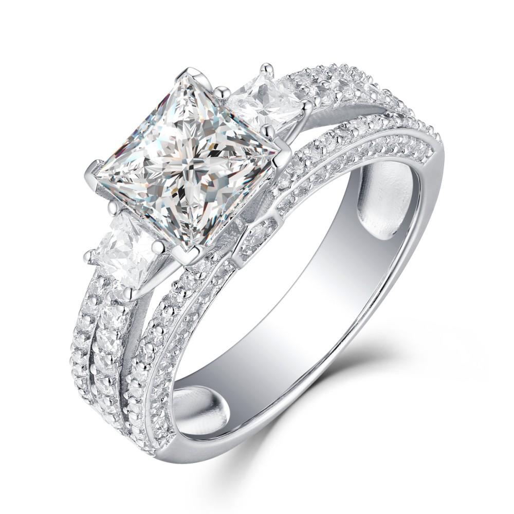 Princess Cut White Sapphire 925 Sterling Silver Womens