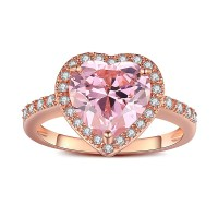 Heart Cut Pink Sapphire Rose Gold 925 Sterling Silver ...