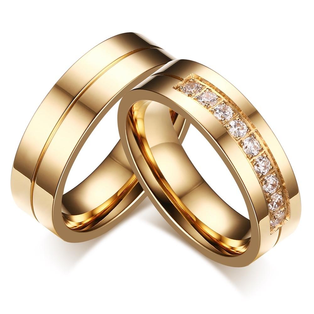 Gold Round Cut Gemstone Titanium Steel Promise Ring for