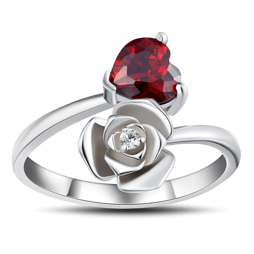 Heart Cut Garnet 925 Sterling Silver Promise Rings For Her