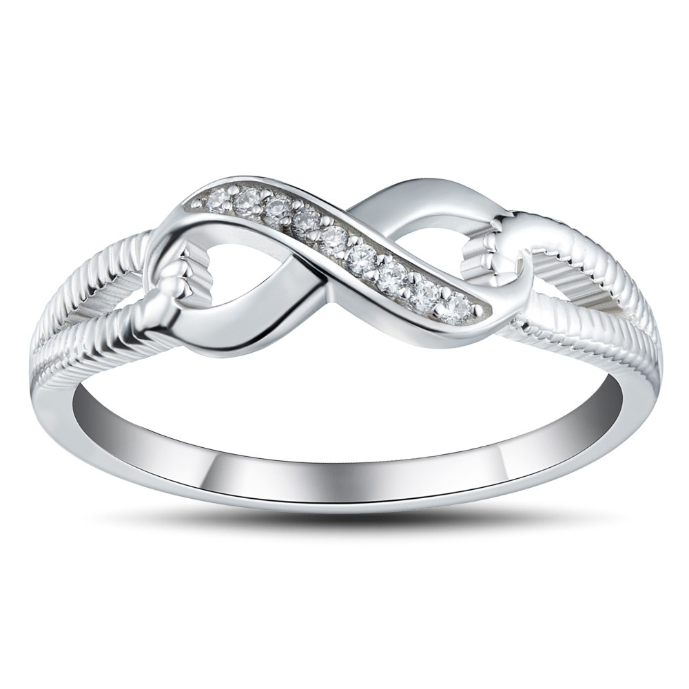 925 Sterling Silver Round Cut White Sapphire Promise Rings