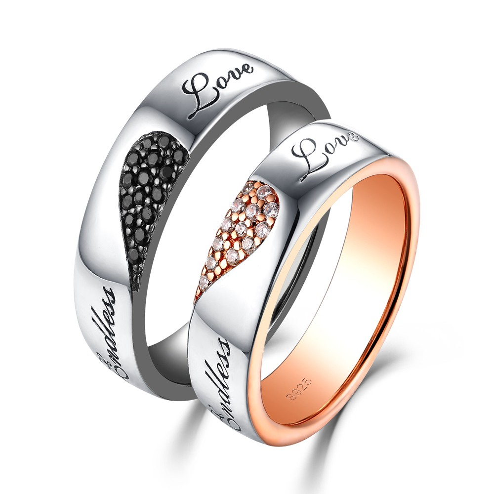 Endless Love White And Black Sapphire S925 Silver Rose