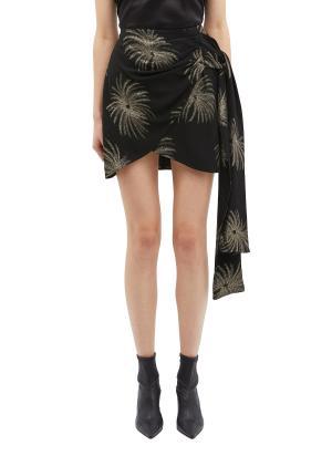 Palm leaf print sash drape wrap skirt