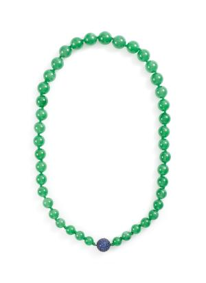 Sapphire jade bead 18k white gold necklace