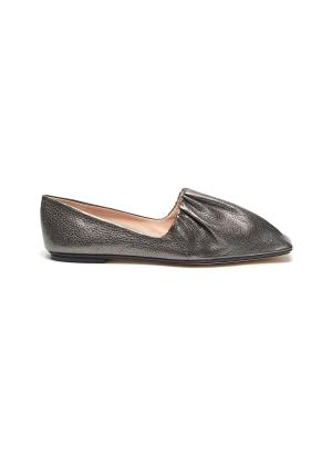 Pleated leather loafers