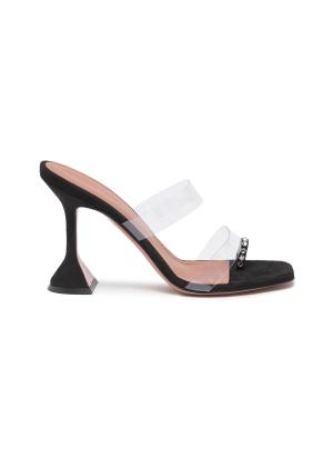 Sami crystal toe ring clear strap heeled sandals