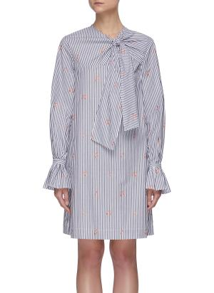 Striped music notes pattern tied-neck dress